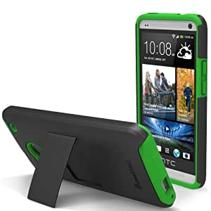 GreatShield Legacy Series Ultra Slim Fit Dual Layer Hybrid Case with Kickstand & Screen Protector for HTC One / M7 (Black & Green)