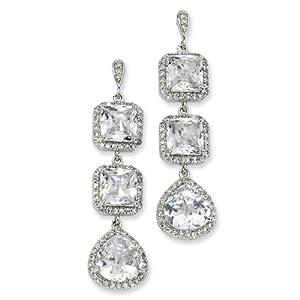 Sterling Silver Rose-cut CZ Dangle Post Earrings