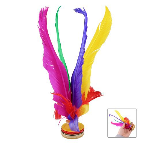 SODIAL(R) Outdoor Sports 4 Colors Feather Chinese Jianzi Game Shuttlecock 8.3 High