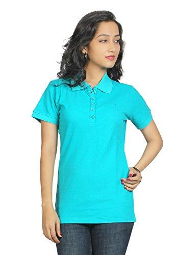 Aliep Aliep Blue Cotton Solid Polo Neck Tshirt For Women | AL1048BLU (Multicolor)