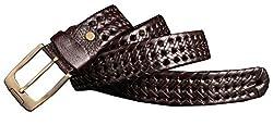 Blueblue Sky Vintage Leather Retro 33mm Men's Pin Buckle Braided Belts#008 (49 in, Coffee)