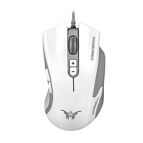 Bengoo Gaming Mouse mice Optical USB Wired Mouse for PC and Mac with 7 Buttons, up to 4800 DPI, Adjustable DPI Switch Function, 6 Breathing LED Colors-White