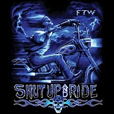 Shut Up And Ride Chopper T-shirt, Skeleton Biker T-shirt, Ghost Rider Motorcycle T-shirt, X-Large, Black