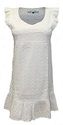 Attuendo Women's Schiffli Embroidered Frilled Cap Sleeve Dress (X-Large)