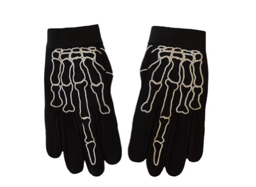 Skeleton Middle Finger Bone Textile Mechanic Gloves Size XL