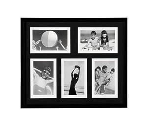 Premier Housewares Plastic 5 Picture Photo Frame - Black - 4 x 6 inch