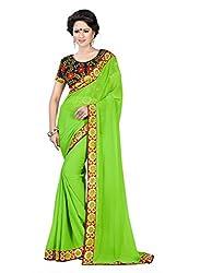 Indianbeauty Women's Solid & Printed Chiffon Saree (INDIANBEAUTY-AS1024_Green)