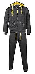 Juicy Trendz Men\'s Fleece Tracksuit Jogging Top Bottom Hoodie Suit Casual Charcoal Large