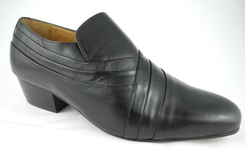 Mens Montecatini Black Leather Slip On Cuban Heels Shoes Size 6 7 8 9 10 11 12