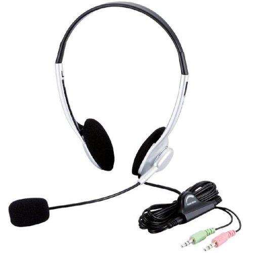 【Amazonの商品情報へ】ELECOM ヘッドセットマイクロフォン 両耳オーバーヘッド 1.8m HS-HP10SV