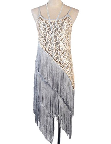 [Women's 1920s Paisley Art Deco Sequin Tassel Glam Party Gatsby Dress (0-4, Grey)] (Latin Themed Party Costume)