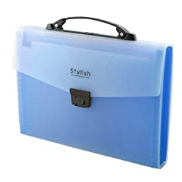 13-Pocket Stylish Document Organizer Expanding File Briefcase (33.2x24x3cm) BLUE
