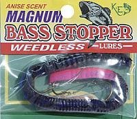 K&E Fish Lures Soft Weedless Magnum Bass Stopper Worm 3 Hook Purple Red Tail