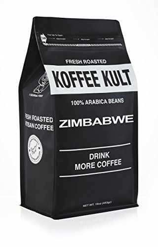 Koffee Kult Zimbabwe Coffee Beans (1 Lb WB) Highest Quality Delicious - Single Origin- Whole Bean - Fresh Roasted Gourmet - Aromatic Artisan Coffee