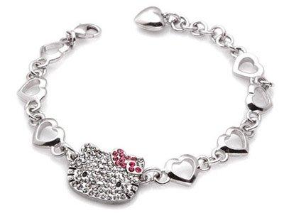 Hello Kitty Multi Heart Crystal Charm Bracelet
