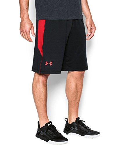 "Under Armour Men's Raid 10"" Shorts, Black/Red, XX-Large"