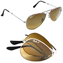 Ray Ban Folding Aviator RB3479 004/M2 Gunmetal/Polar Brown Gradient 55mm Sunglasses