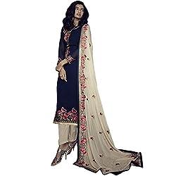 Vasu Saree Beautiful Resham Work Blue Georgette Kameez With Pant Style Bottom-36005
