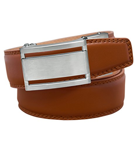 EazyBelt 2.0 Manhattan Brushed Silver Buckle with Automatic Ratchet Belt 36-37 Tan