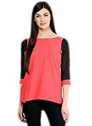 Varibha Girls Branded Stitched Solid Pink & Black Cotton Silk Low Price Kurti (Best Gift For Your Friend, Girlfriend, Wife, Sister, Casual, Free Size alterable till 42)
