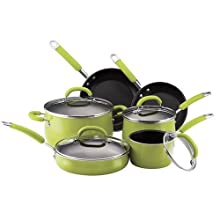 Rachael Ray 10-Piece Porcelain-Enamel Cookware Set Green