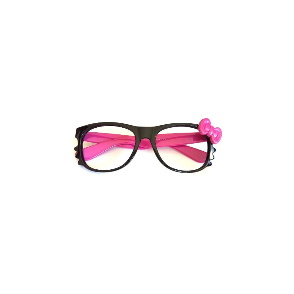 57a3c7bda58 Hello Kitty Bow Nerd Retro Vintage Women Girl Kawaii Glasses Frame Costume  New No Lens(black Frame with Pink Tie)