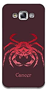 The Racoon Grip printed designer hard back mobile phone case cover for Samsung Galaxy E7. (Cancer)