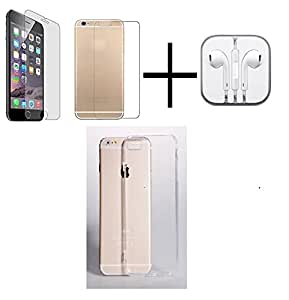 PRO+ TEMPERED GLASS FOR Iphone 6 (Front & Back) + HANDSFREE + TRANSPANRENT BACK COVER FREE