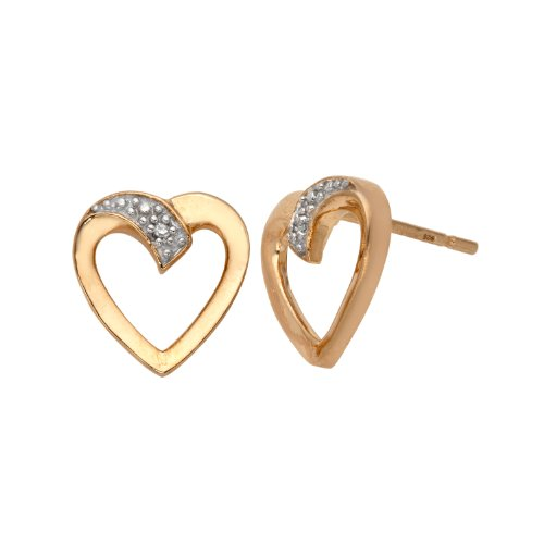 18K Yellow Gold Plated Sterling Silver Diamond Open Heart Earrings (0.01 cttw, I-J Color, I3 Clarity)