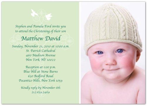 Peaceful Doves Christening Photo Invitations - Set Of 20 front-1032780
