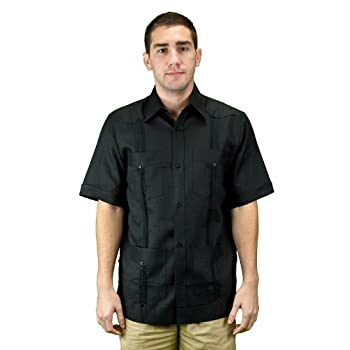 Mens guayabera shirt, black, short sleeve.