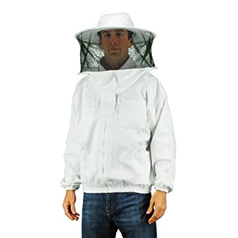 Eco-keeper Professional Grade Bee Suits,(Round hood veil)Beekeeping Jacket with Veil, 1-Unit, White.. 2X Large Size