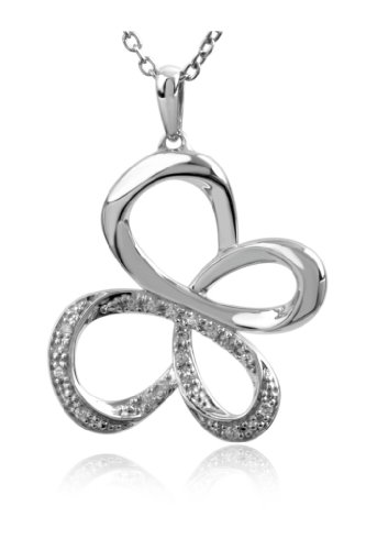 Jessica Simpson Silver Diamond Butterfly Pendant (.07 cttw)