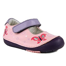 Momo Baby Girls First Walker/Toddler Butterfly Pink Mary Jane Leather Shoes - 8 M US Toddler