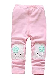 Fall Winter Baby Girl Kids Toddlers Cute Pants Outfit Leggings Sweatpants(Rabbit Pink,2-3 Years)