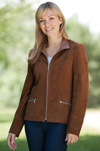 Women's Katie Lamb Suede Jacket, CURRY, Size