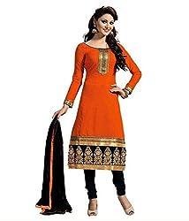 Expert Women's Clothing Designer Party Wear Low Price Sale Offer Orange Color Cotton Embroidered Free Size Salwar Kameez Suit Dress Material