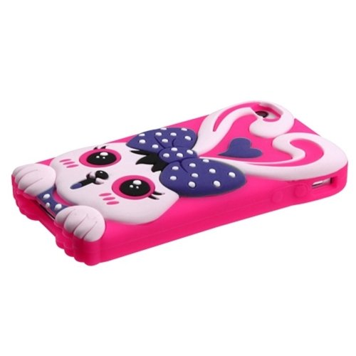Mybat Rabbit Pastel Skin Cover With Package For Apple Iphone 4S/4 - Retail Packaging - Hot Pink/Purple front-925132