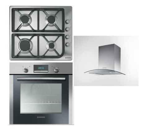 Hoover Built-in Multi Function Oven HOC709/6X, 4 Burner Gas Hob HGL64SCX and HGM61X 60CM Glass Chimney Hood
