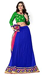 Khoobee Presents Women's Multi Embroidered Stitched Lahenga With Unstitched Blouse Piece.(Blue)