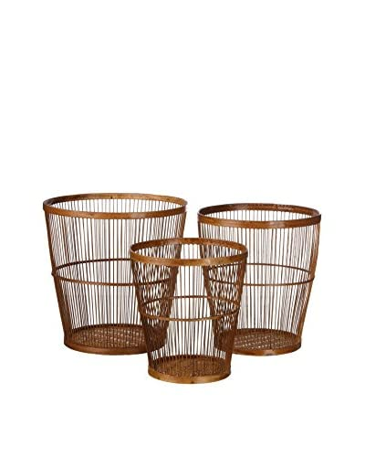 Concept Luxury Set Cesta Porta Utensilios 3 Uds. Bamboo Marrón