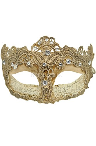 Toga Party Special - Venetian Goddess Masquerade Mask Made of Resin, Paper Mache Technique with High Fashion Macrame Lace & Rhinestones [Ivory] (Paper Mache Masquerade Mask compare prices)