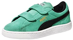 PUMA Suede Classic 2-Strap Sneaker (Toddler/Little Kid/Big Kid),Fluorescent Teal/Black,8 M US Toddler