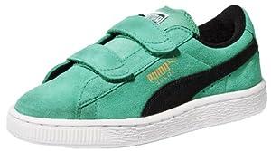PUMA Suede Classic 2-Strap Sneaker (Toddler/Little Kid/Big Kid),Fluorescent Teal/Black,9 M US Toddler