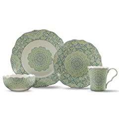 222 Fifth Lyria 16-Piece Dinnerware Sets, Teal by 222 Fifth