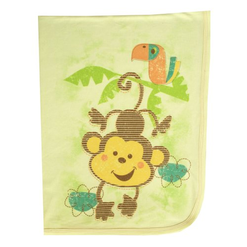 "Clever Birds Baby Blanket, Monkey, 30"" X 40"" back-114034"