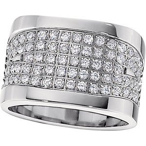 Comfort Fit Titanium, 14k Yellow Gold and CZ Band, Size 8
