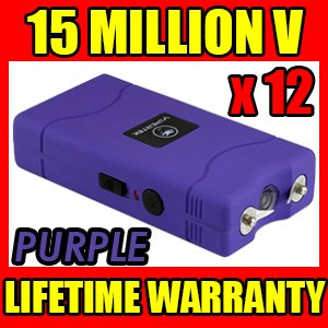 (12) Lot Vipertek Purple Vts-880 15 Million Volt Self Defense Rechargeable Mini Stun Gun Electric Shock
