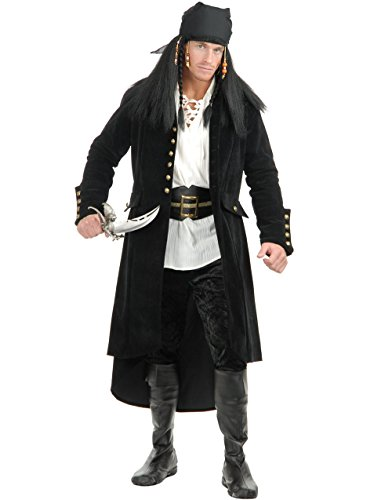 Adult's Treasure Island Pirate Black Faux Suede Duster Jacket Trench Coat
