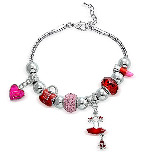 Red Pink Crystal & Glass Ballet Dance Party Bead Charm Bracelet